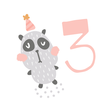 vector illustration, cute panda bear and big pink three number