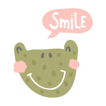 vector illustration, cute frog head and smile hand lettering text in a bubble Иллюстрация
