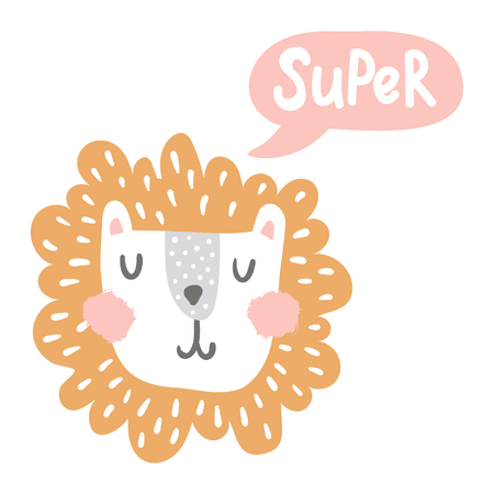 vector illustration, cute lion head and super hand lettering text in a bubble Фото со стока - 114990757