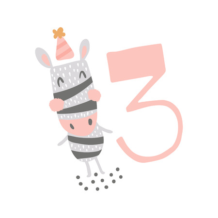 vector greeting card, cute zebra and big pink three number Фото со стока - 114990758
