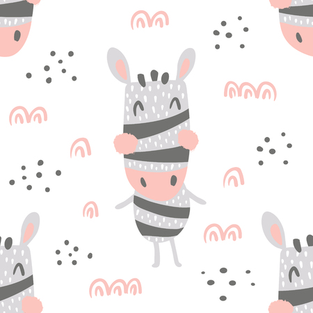 vector seamless pattern, cute standing zebra, isolated background