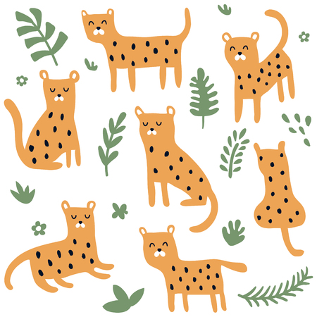 vector set of cute leopards in different poses, green jungle leaves