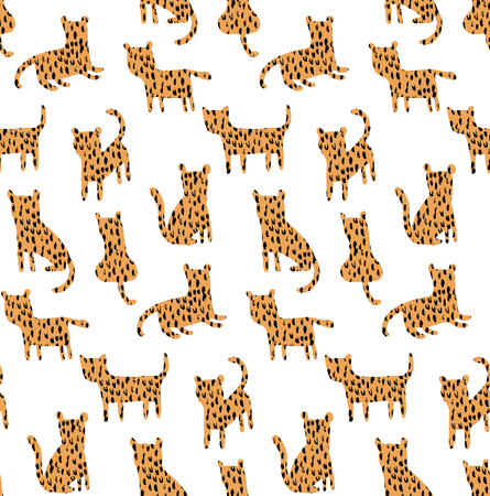 vector seamless pattern, cute little cheetahs with texture Иллюстрация