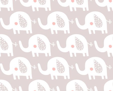 vector seamless pattern, cute white elephants on violet background