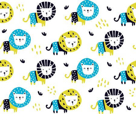 vector seamless pattern, cute lions in scandinavian style Фото со стока - 114990761