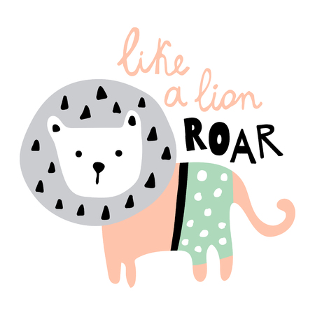 vector illustration, cute lion and funny hand lettering text Фото со стока - 114990762