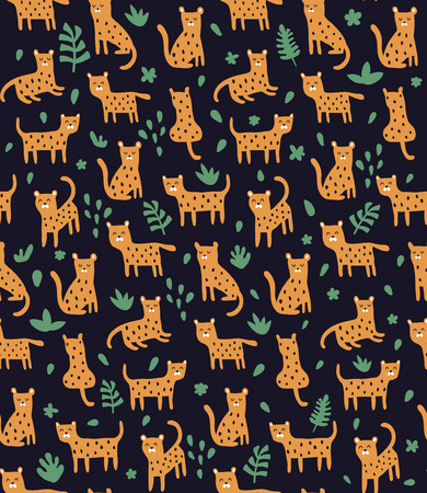 vector seamless pattern, cute leopards on dark background and tropical eaves Çizim