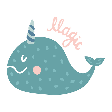 vector illustration of a cute narwhal and drean hand lettering text
