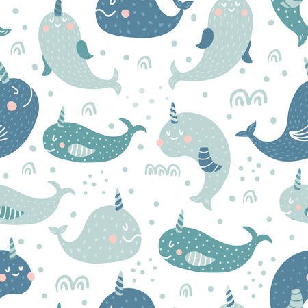 vector seamless pattern with cute narwhals, white background