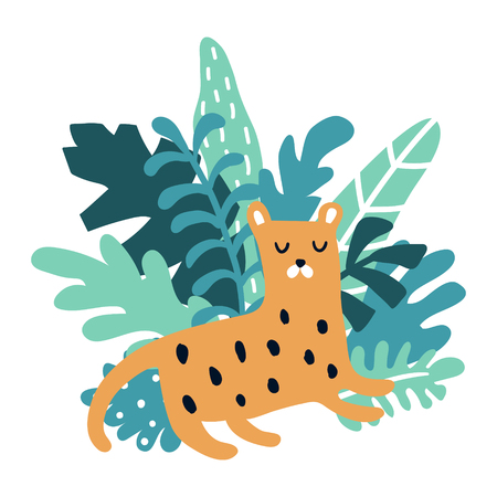vector illustration of a cute sleeping leopard and green leaves