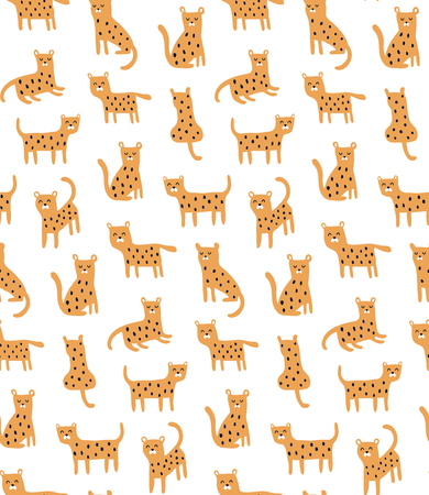 vector seamless pattern, cheetahs on white background