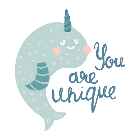 vector illustration, cute narwhal and you are unique hand lettering text Фото со стока - 114990769
