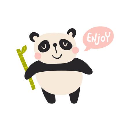 vector illustration of ac ute panda holding a bamboo stick and Enjoy text Иллюстрация