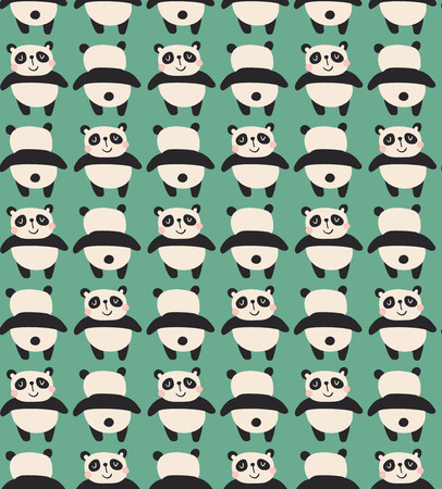 vector seamless pattern with funny panda