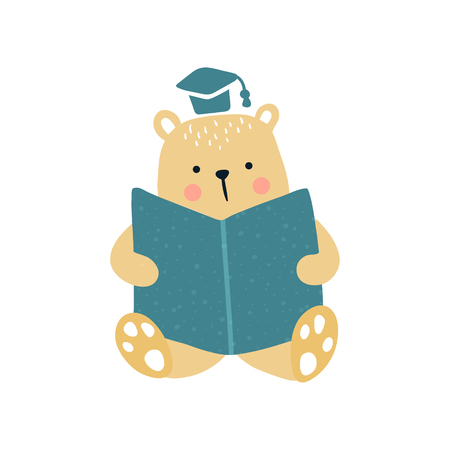 vector illustration of a cute bear sitting and reading a book Фото со стока - 114990772