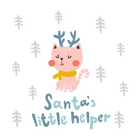 vector illustration of a cute sitting cat and Santas little helper text