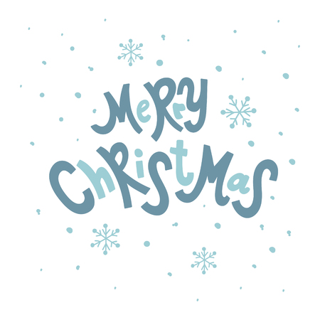 vector illustration, merry Christmas hand lettering text and snowflakes Иллюстрация