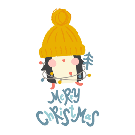 vector illustration of an adorable penguin with Christmas tree and celebration lights Ilustração