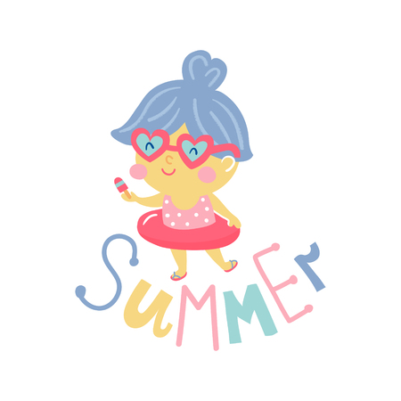 vector illustration of a cute little girl in swimming suit eating an ice cream