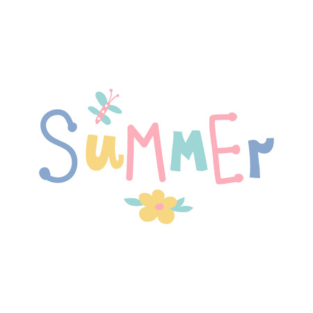 vector hand lettering summer text on isolated background