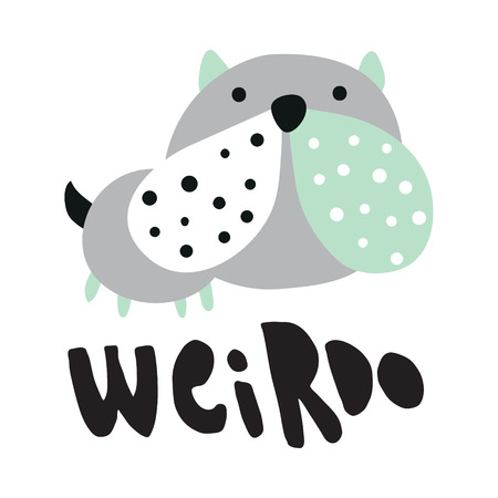 vector illustration of a cute bulldog and a weirdo hand lettering text Иллюстрация