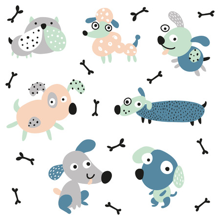 vector set of cute and fun weirdo dogs on isloated background