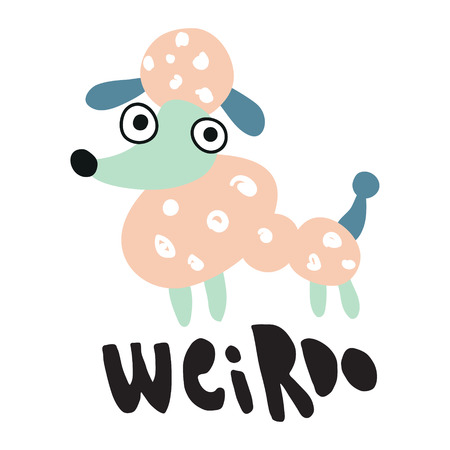vector illustration of a finny poodle dog and weirdo hand lettering text Иллюстрация