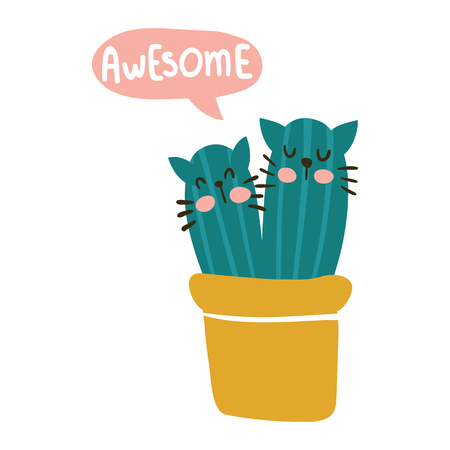 vector design of a greeting card with funny cactus and awesome hand lettering text