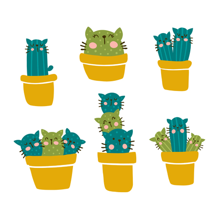 vector set of cute cactus with cat faces in pots