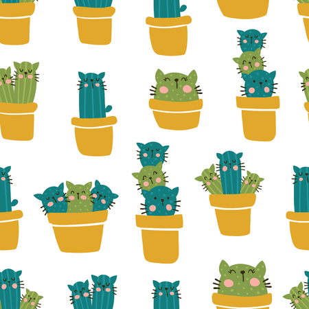 vector seamless pattern with cute house plants, cactus with faces of cat Иллюстрация