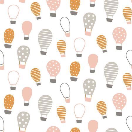 vector seamless pattern, cute hot air balloon Illustration