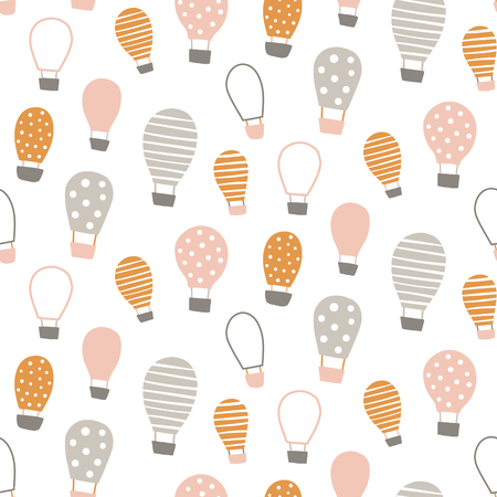 vector seamless pattern, cute hot air balloon Çizim