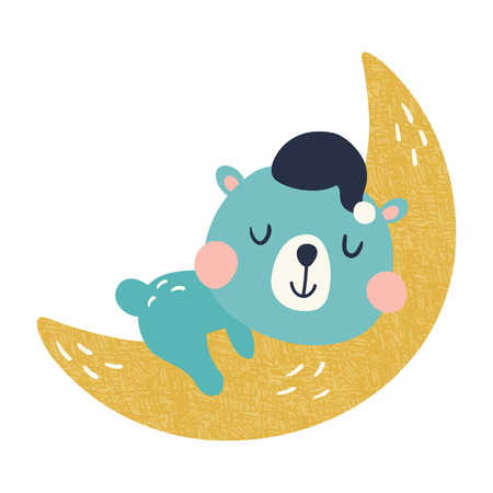vector illustration, cute blue bear sleeping on the moon Ilustração