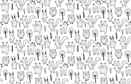 vector seamless pattern, cute forest animals, black and white color palette Иллюстрация