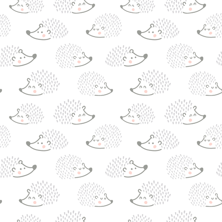 vector seamless pattern, cute hedgehogs on a white background Иллюстрация