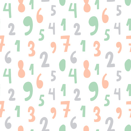 vector seamless pattern with numbers in pastel colors, white background Иллюстрация