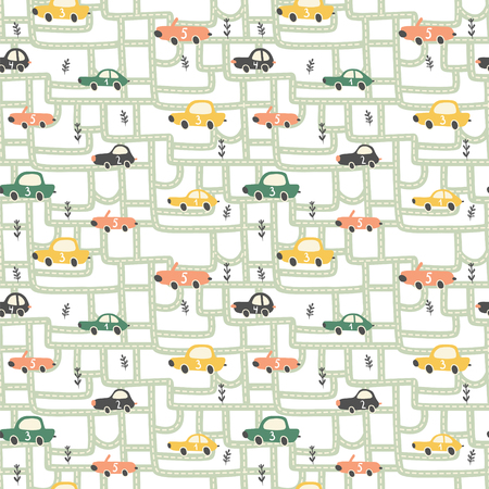 vector seamless pattern, funny racing cars on roads