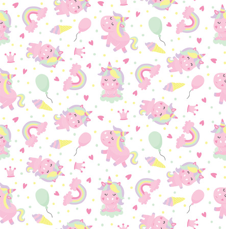 vector seamless pattern with cute unicorns, hearts, balloons