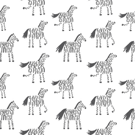 vector seamless pattern with cute hand drawn zebras on white background Иллюстрация