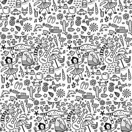 vector seamless pattern, tropical items, white background