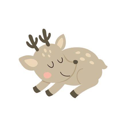 vector illustration of a cute sleeping deer Ilustração