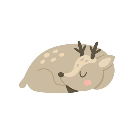 vector illustration of a cute sleeping deer on isolated background