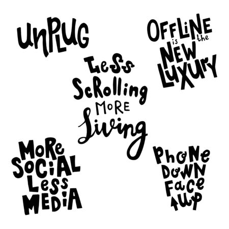vector set of hand drawn lettering phrases about social media detox Иллюстрация