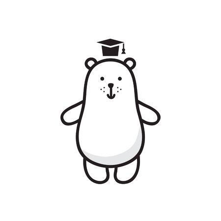 vector illustration, white bear in a hat Иллюстрация