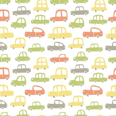 vector hand drawn pattern, cute cars in retro style