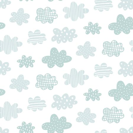 vector seamless pattern, beautiful hand drawn clouds with texture