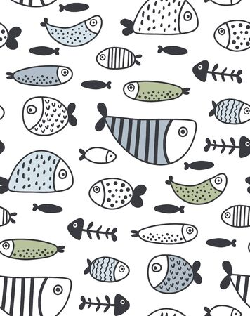vector seamles pattern, funny fish, textilre print for children