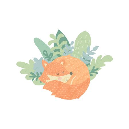 vector illustration of adorable fox sleepeing in leaves