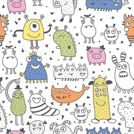 vector seamless pattern, funny cute monsters on white background