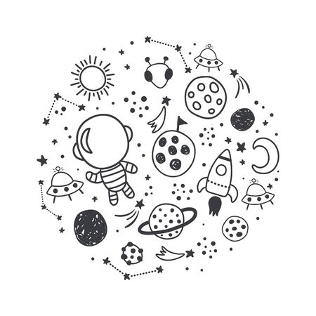 vector illustration, space related images arranged in a circle